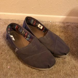 Toms, grey slip-ons, good used condition